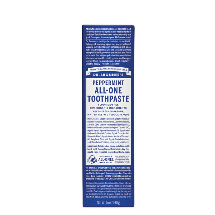 Dr.Bronner'S, All-One Toothpaste Peppermint Toothpaste, 140g