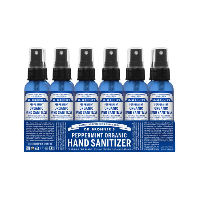 Dr.Bronner'S, Organic Hand Sanitizer Peppermint, 59mlx12 Pack