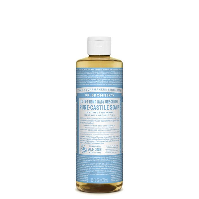Dr.Bronner'S, Pure-Castile Soap Liquid (Hemp 18-In-1) Baby Unscented, 473ml