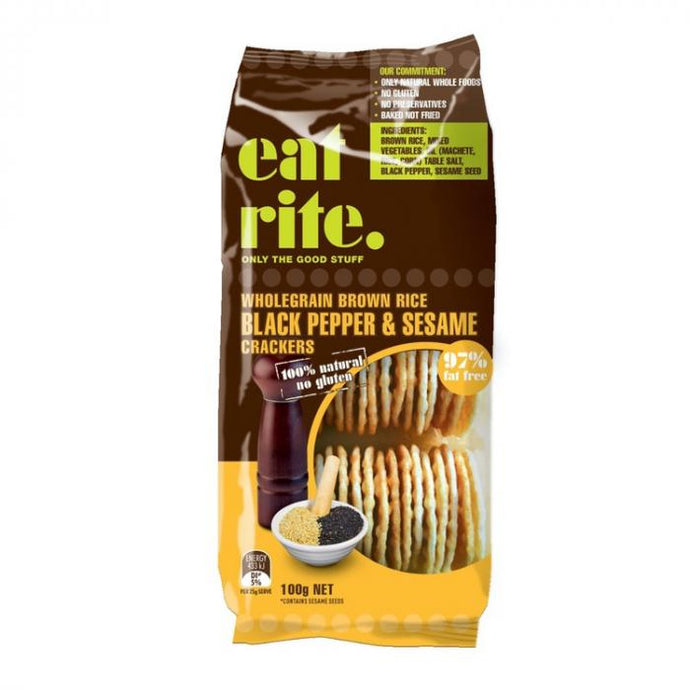 EatRite, Brown Rice Crackers Black Pepp, 100g