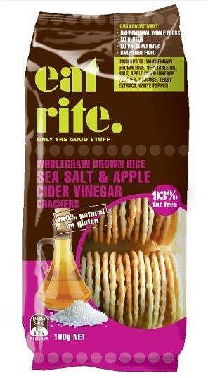 EatRite, Brown Rice Crackers Salt & ACV, 100g