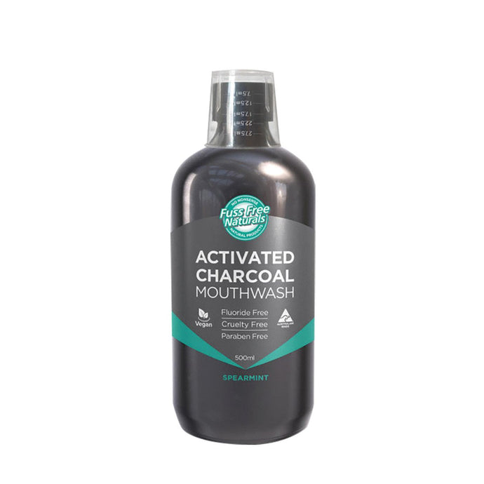 Essenzza, Fuss Free Naturals Activated Charcoal Mouthwash Spearmint, 500ml