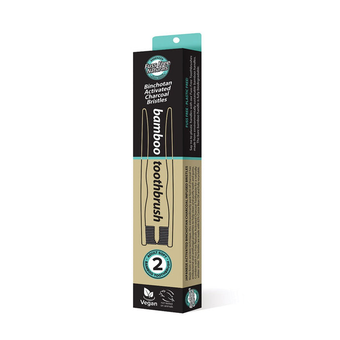Essenzza, Fuss Free Naturals Toothbrush Bamboo Activated Charcoal Soft, 2Pk