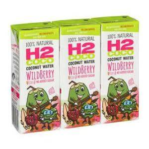 H2COCO, Coconut Water Wildberry, 3 x 200ml