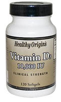 Healthy Origins Vitamin D3 -- 10000 IU - 120 Softgels