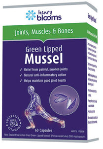 Henry Blooms, Health Products Green Lipped Mussel, 60 Capsules - Supplement