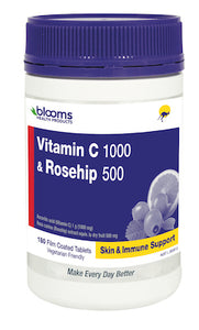 Henry Blooms, Health Products Vitamin C 1000 with Rosehip, 500mg 180 Tabletss