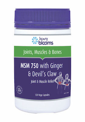 Henry Blooms, MSM 750 with Ginger 1000mg & Devils Claw, 120 vegetarian capsules