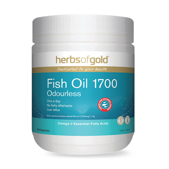 Herbs Of Gold, Fish Oil, 1700 Odourless, 200 Capsules