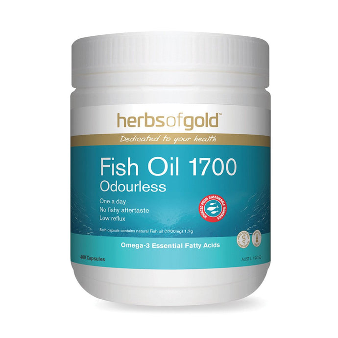 Herbs Of Gold, Fish Oil, 1700 Odourless, 400 Capsules