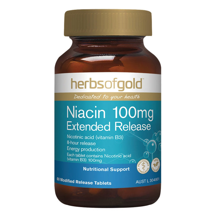 Herbs Of Gold, Niacin, 100Mg Extended Release, 60 Tablets