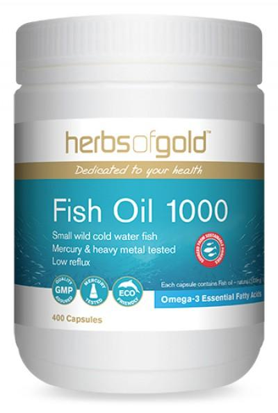 Herbs of Gold, Fish Oil 1000, 400 Capsules