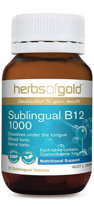 Herbs of Gold, Sublingual B12 1000, 75 Tablets
