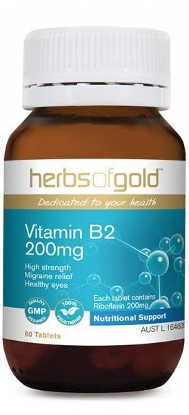 Herbs of Gold, Vitamin B2 200mg, 60 Tablets