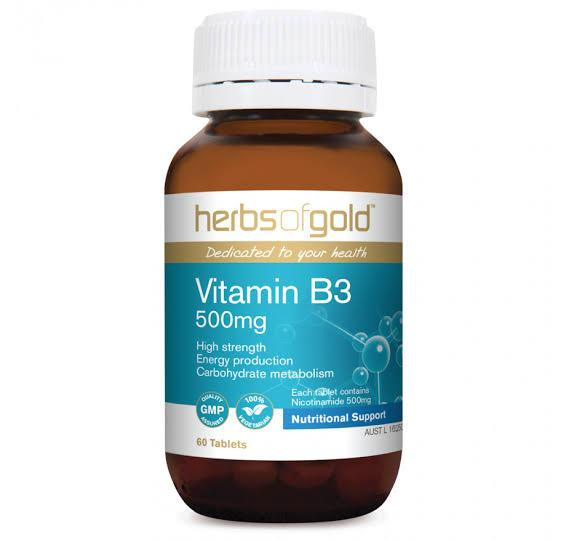 Herbs of Gold, Vitamin B3 500mg, 60 Tablets