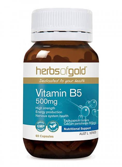 Herbs of Gold, Vitamin B5 500mg, 60 Veggie Capsules