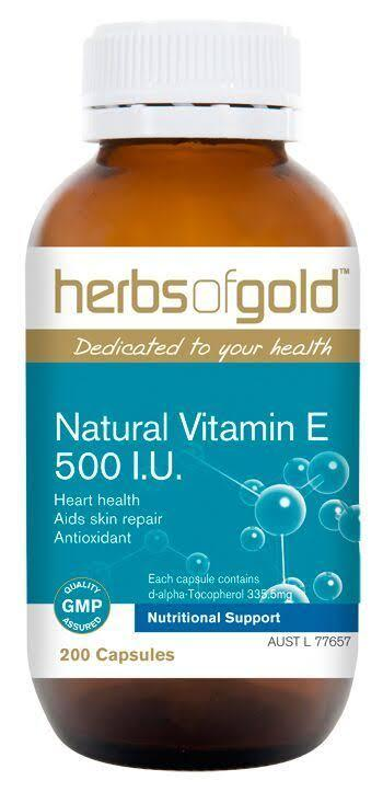 Herbs of Gold, Vitamin E 500IU Natural, 200 Capsules