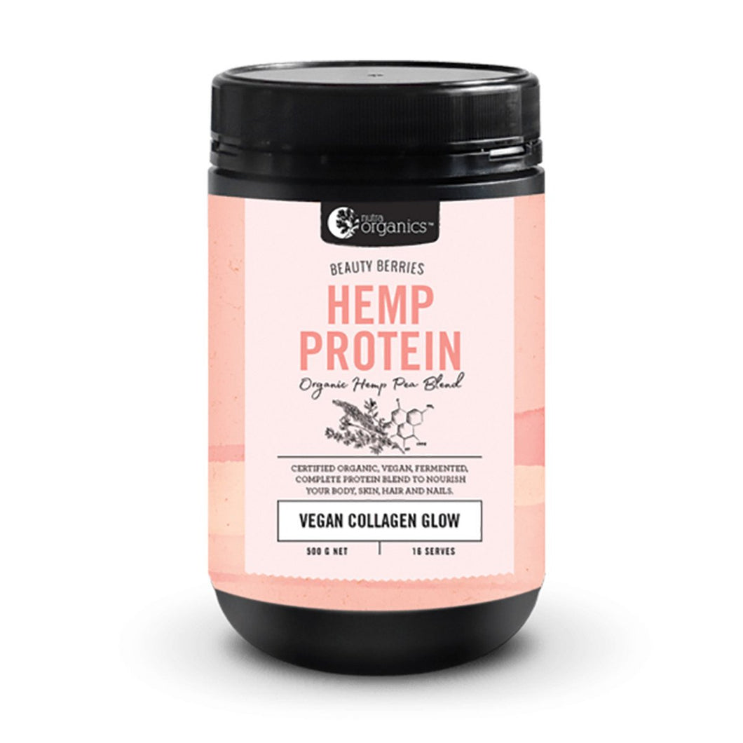 Nutra Organics, Hemp Protein Beauty Berries (Organic Hemp Pea Blend Vegan Collagen Glow), 500g