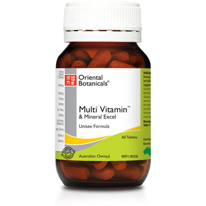 Oriental Botanicals, Multi Vitamin And Mineral Excel, 60 Tablets