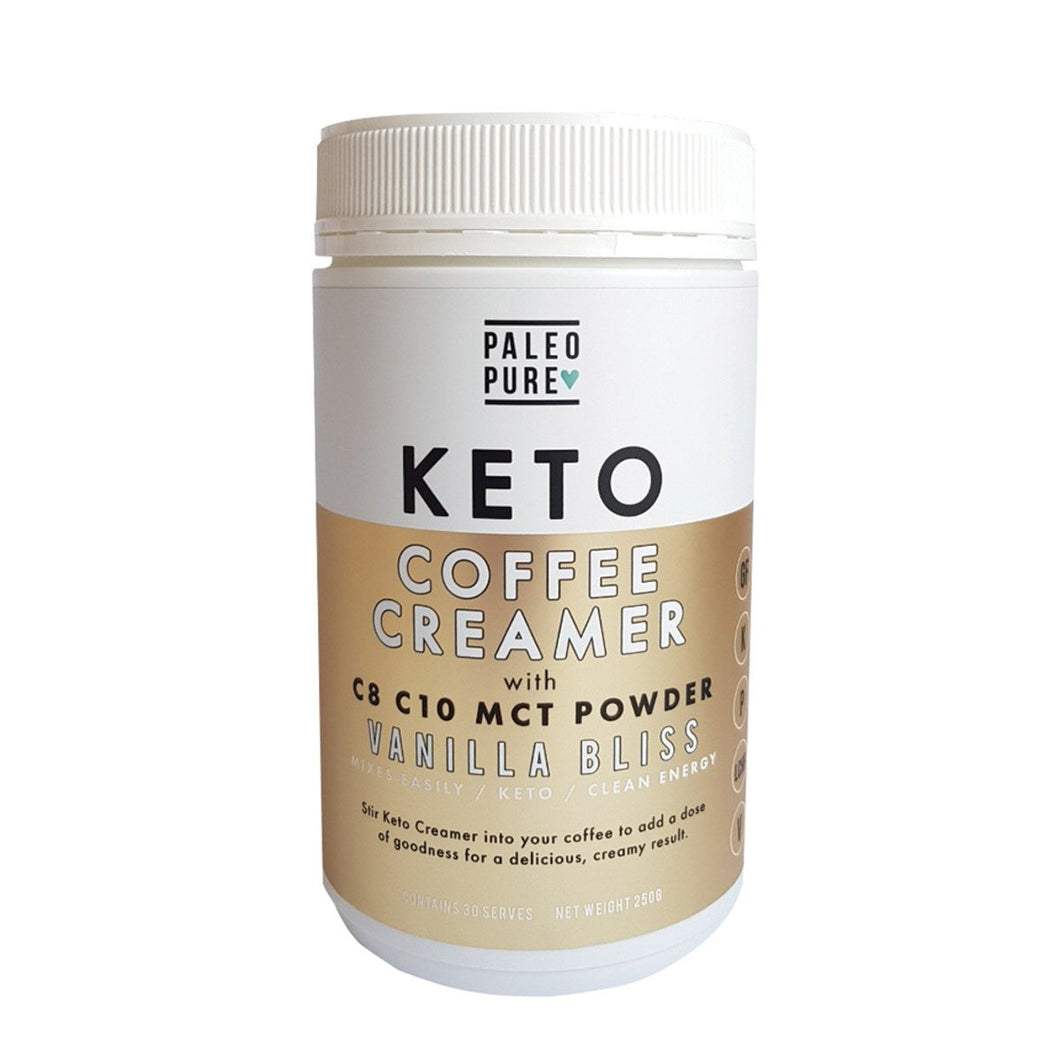 Paleo Pure, Keto Coffee Creamer With C8 C10 Mct Powder Vanilla Bliss, 250g