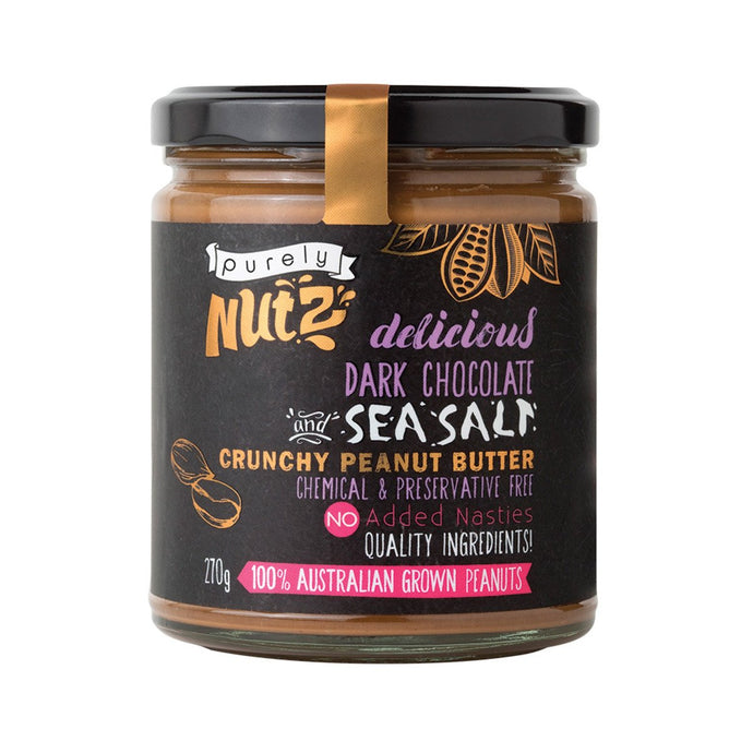 Purely Nutz, Peanut Butter Crunchy Dark Chocolate And Sea Salt, 270g