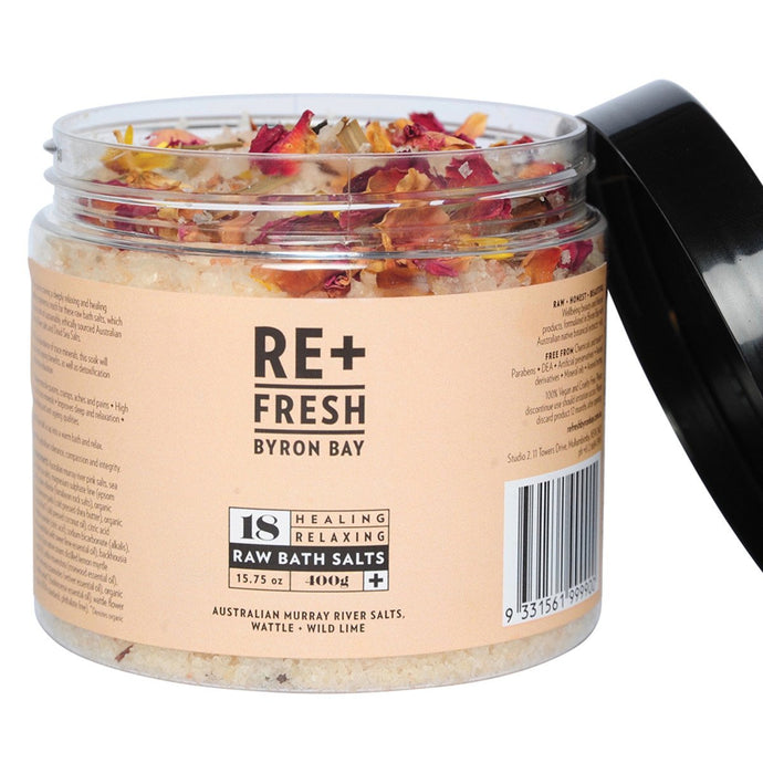 Re+Fresh Byron Bay, Healing Relaxing Raw Bath Salts (Murray River Salts, Wattle & Wild Lime), 400g