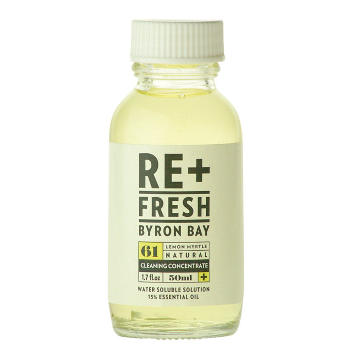 Re+Fresh Byron Bay, Lemon Myrtle Nat.Cleaning Concentrate Water Sol. Solution, 15% Essential Oil, 50ml