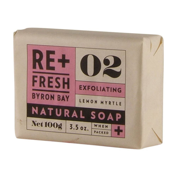 Re+Fresh Byron Bay, Lemon Myrtle Natural Soap Exfoliating, 100g