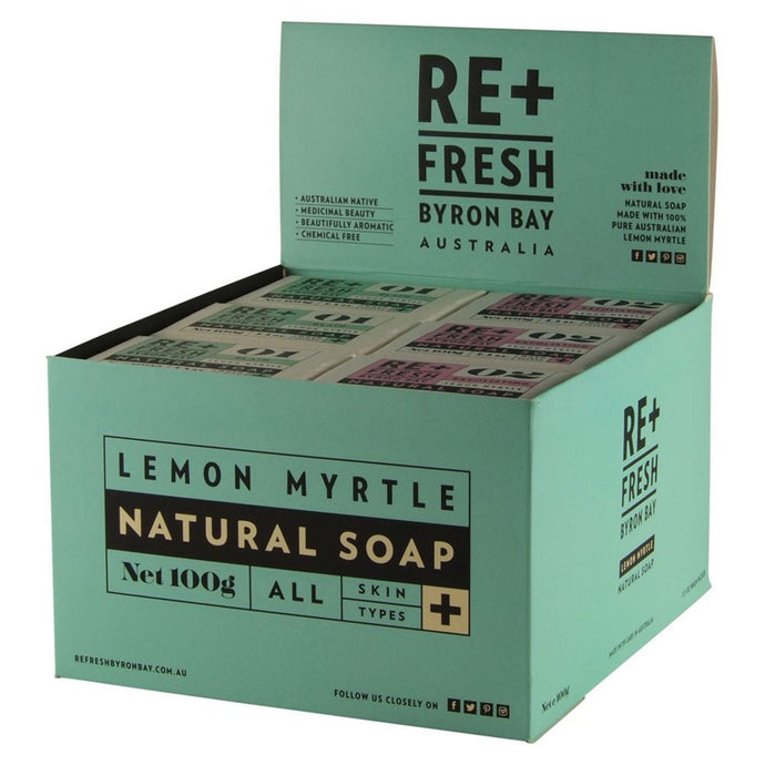 Re+Fresh Byron Bay, Lemon Myrtle Natural Soap Mixed (Exfoliating & Plain), 100g x 24 Display