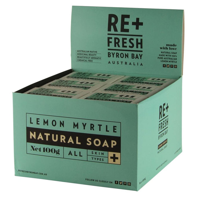 Re+Fresh Byron Bay, Lemon Myrtle Natural Soap Plain, 100g x 24 Display