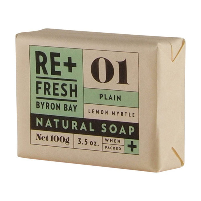 Re+Fresh Byron Bay, Lemon Myrtle Natural Soap Plain, 100g