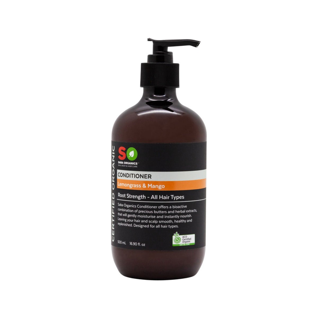 Saba Organics, Certified Organic Conditioner Lemongrass & Mango (Root Strength/All Hair Tpes), 500ml