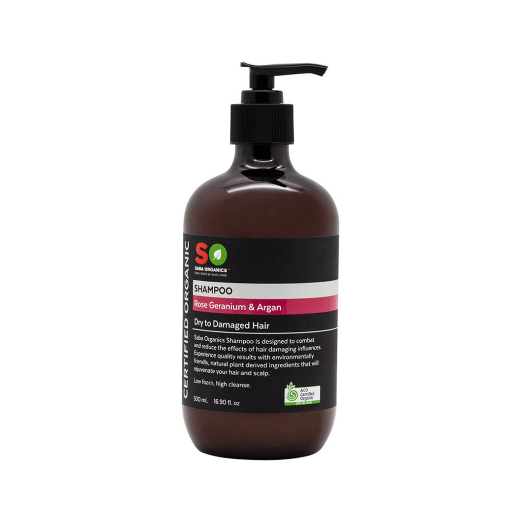 Saba Organics, Certified Organic Shampoo Rose Geranium & Argan (Dry/Damaged), 500ml