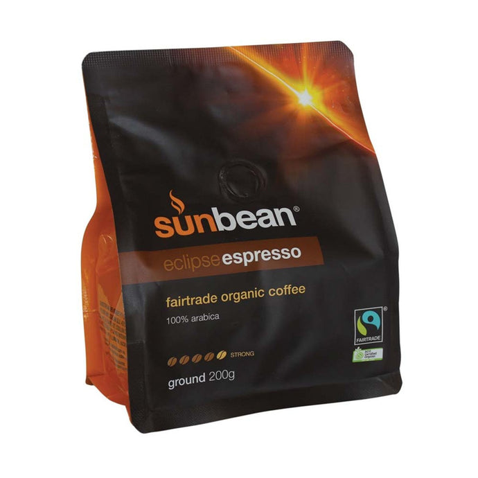 Sun bean, Coffee Fairtrade Organic, 100% Arabica Eclipse Espresso Ground, 200g