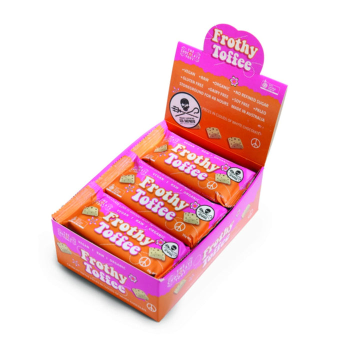 The Chocolate Yogi, Frothy Toffee Vegan Whyte Chocolate Bar, 35g x 15 Pack
