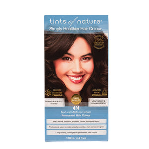 Tints Of Nature, Permanent Hair Colour Natural Medium Brown, 4N