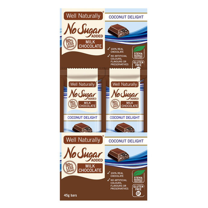 Well Naturally, No Added Sugar Bar Milk Chocolate Coconut Delight, 45g x 16 Display
