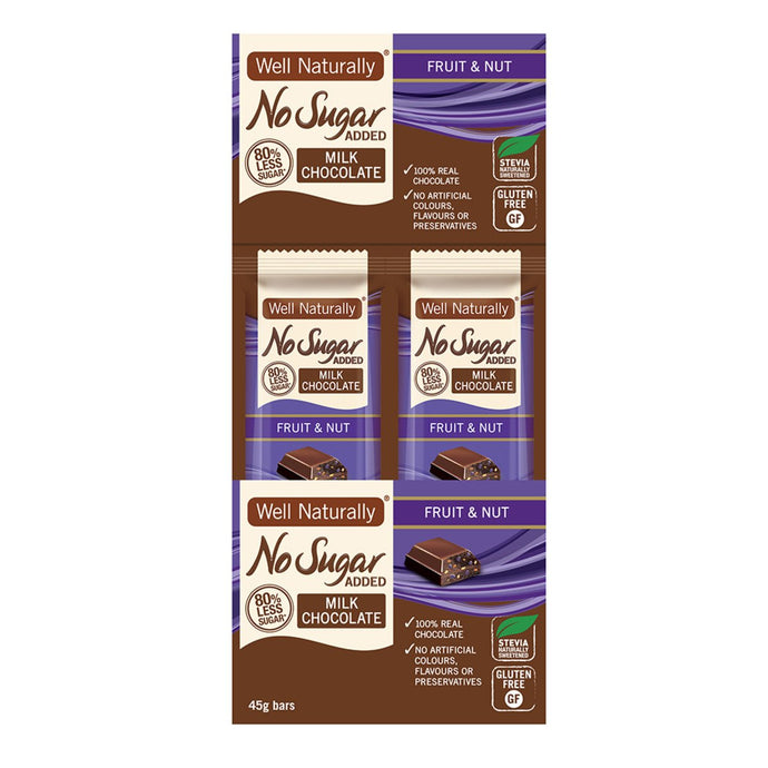 Well Naturally, No Added Sugar Bar Milk Chocolate Fruit & Nut, 45g x 16 Display