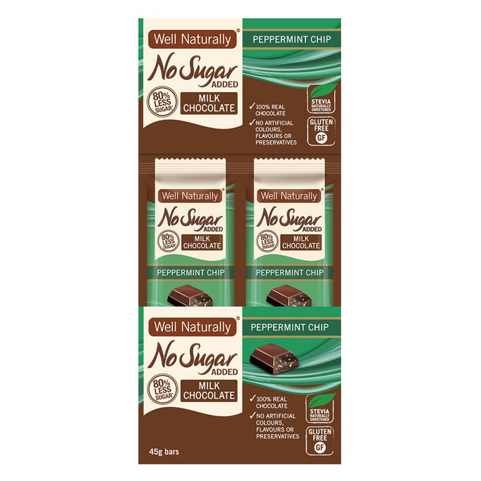 Well Naturally, No Added Sugar Bar Milk Chocolate Peppermint Chip, 45g x 16 Display