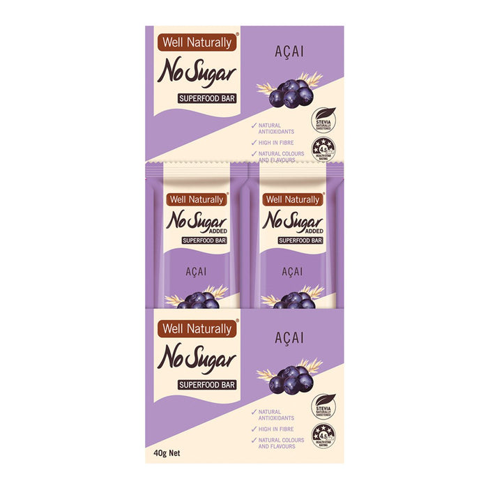 Well Naturally, No Added Sugar Bar Super Food Acai, 40g x 16 Display
