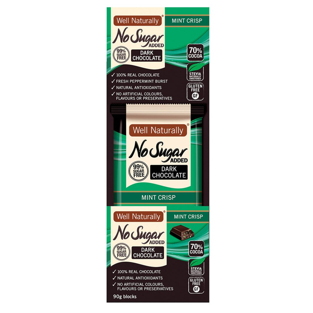 Well Naturally, No Added Sugar Block Dark Chocolate Mint Crisp, 90g x 12 Display