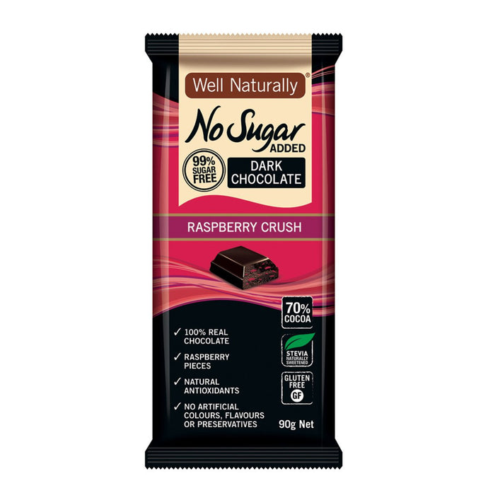 Well Naturally, No Added Sugar Block Dark Chocolate Raspberry Crush, 90g