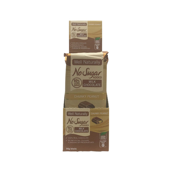 Well Naturally, No Added Sugar Block Milk Chocolate Chunky Peanut, 90g x 12 Display