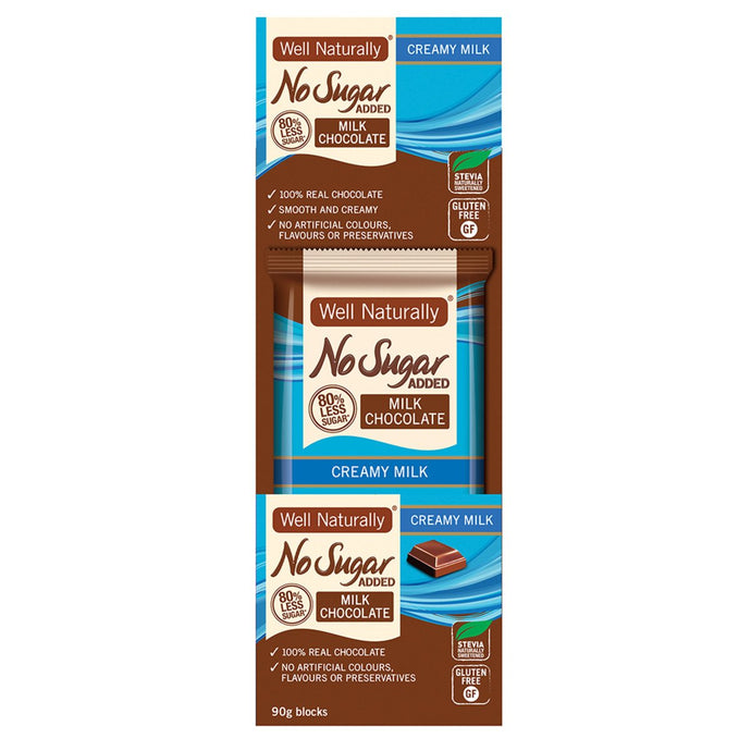Well Naturally, No Added Sugar Block Milk Chocolate Creamy Milk, 90g x 12 Display