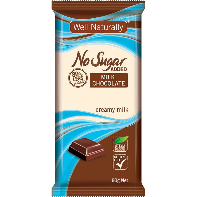 Well Naturally, No Added Sugar Block Milk Chocolate Creamy Milk, 90g