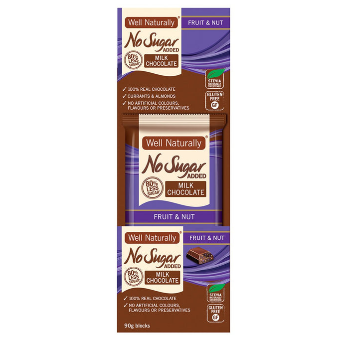 Well Naturally, No Added Sugar Block Milk Chocolate Fruit & Nut, 90g x 12 Display