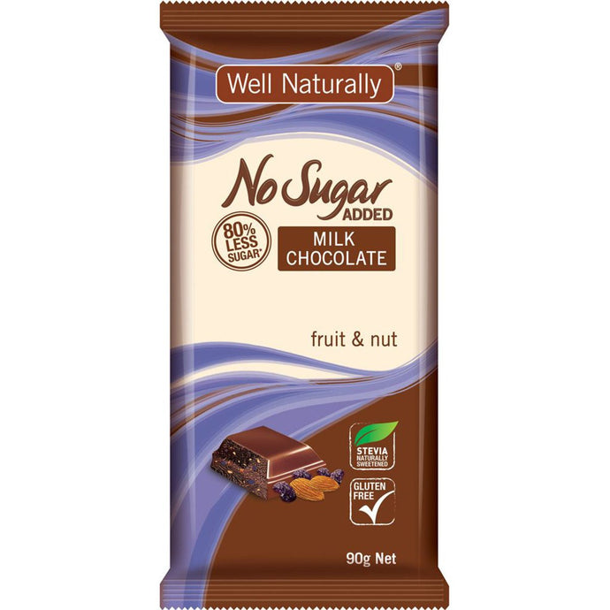 Well Naturally, No Added Sugar Block Milk Chocolate Fruit & Nut, 90g