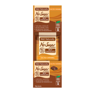 Well Naturally, No Added Sugar Block Milk Chocolate Salted Caramel, 90g x 12 Display