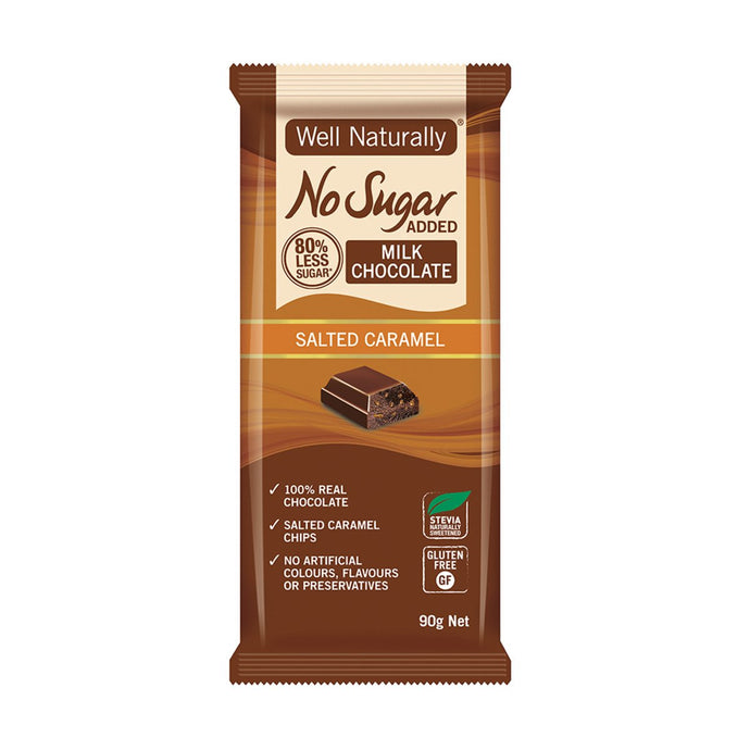 Well Naturally, No Added Sugar Block Milk Chocolate Salted Caramel, 90g