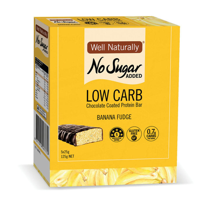Well Naturally, No Added Sugar Protein Mini Bar Banana Fudge, 25g x 5 Pack